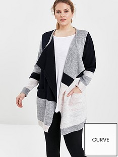evans-colourblock-waterfall-cardigan-grey