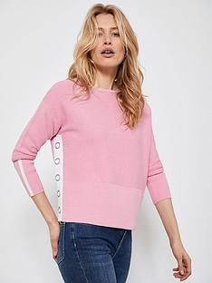 mint-velvet-cotton-stitch-button-jumper-pink