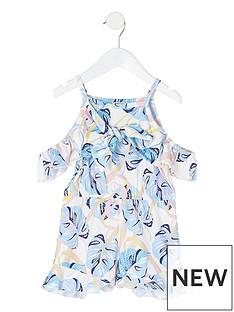 river-island-mini-mini-girls-printed-tie-front-playsuit-white