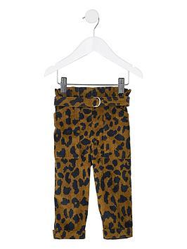 river-island-mini-mini-girls-leopard-cord-paperbag-trousers-brown