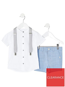 river-island-mini-mini-boys-grandad-shirt-ampnbspshort-set--nbspblue