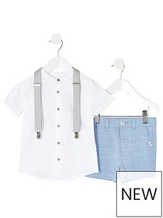 river-island-mini-mini-boys-grandad-shirt-and-short-set-blue