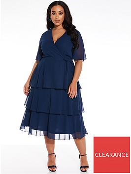 quiz-curve-chiffon-tiered-midi-dress-navy