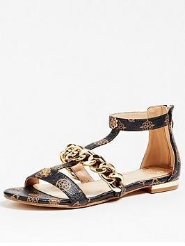 guess-renata-all-over-logo-chain-sandals-brown