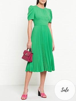 lk-bennett-avalon-pleated-short-sleeve-midi-dress-green
