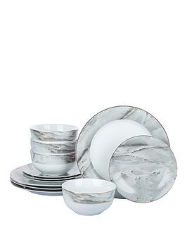 Product photograph showing Waterside Marble And Gold 12-piece Dinner Set