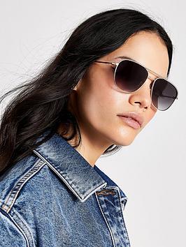 river-island-river-island-smoke-lens-twist-frame-aviator-sunglasses