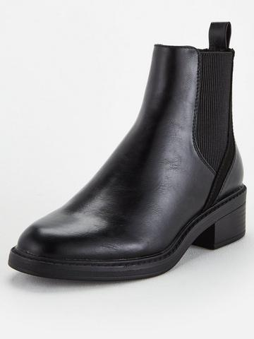 Office Size 40 UK7 Black Faux Leather Ankle Pull On Chelsea Block Heels Boots
