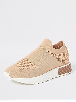 river-island-sock-runner-trainers-beige