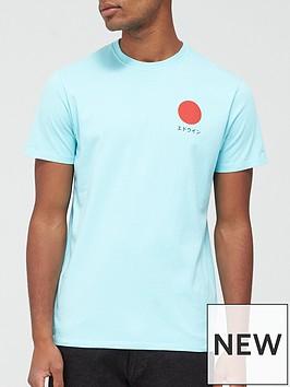 edwin-japanese-sun-logo-t-shirt-blue
