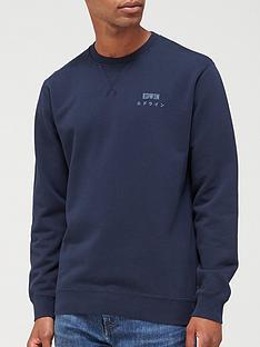 edwin-base-crew-chest-logo-sweatshirt-navy