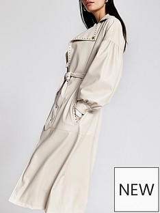 river-island-river-island-premium-faux-leather-volume-sleeve-trench-coat-white