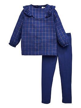 v-by-very-girls-lurex-checked-ruffle-dress-and-legging-set-navy
