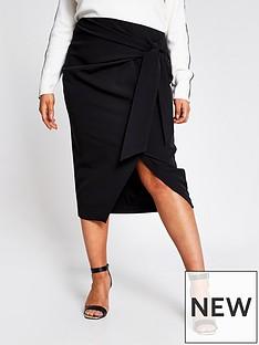ri-plus-ri-plus-tie-wrap-asymmetric-pencil-skirt-black