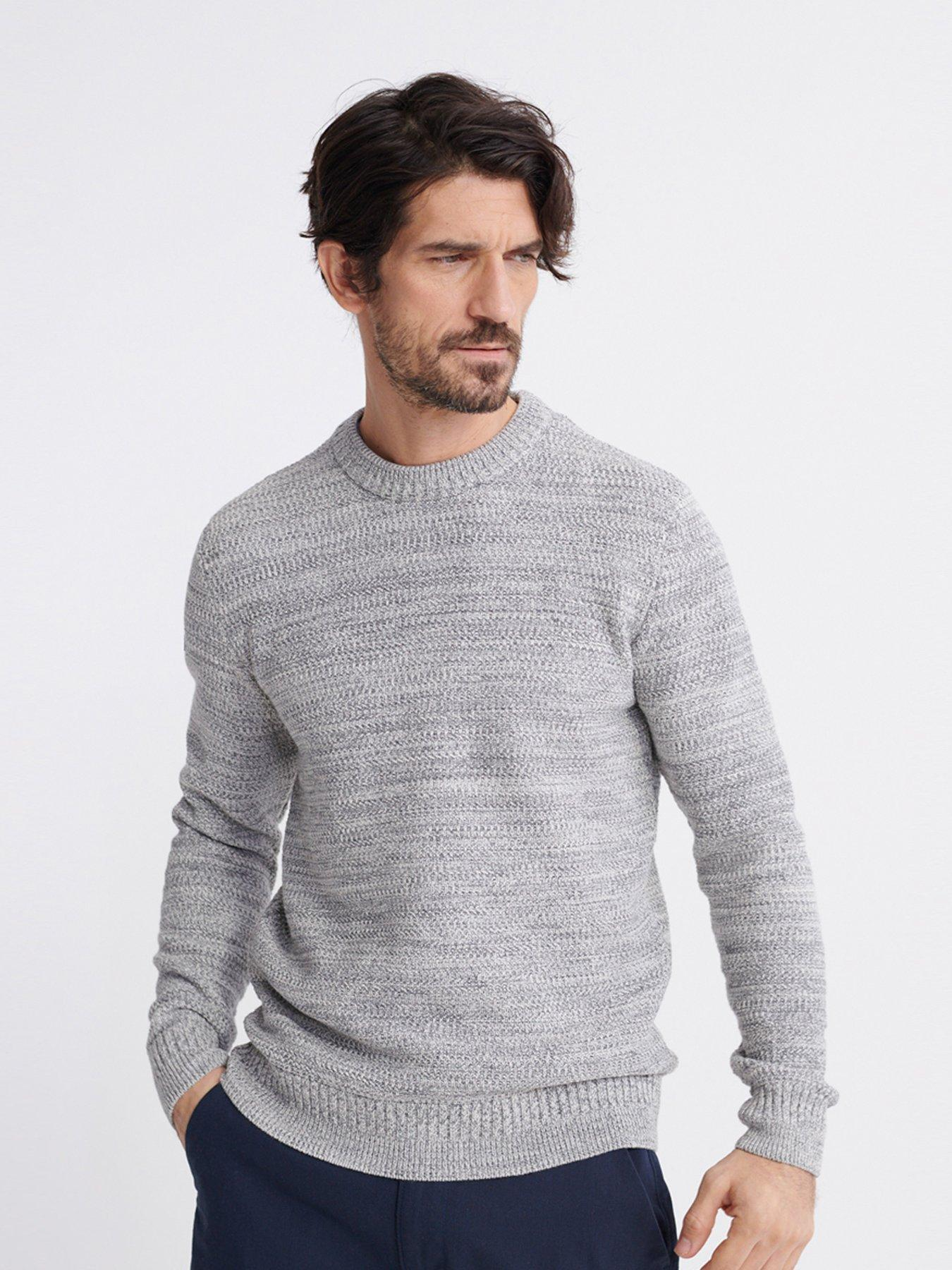 Mens Round Neck Knitted Two Tone Blue Navy Jumper Top Regular Fit