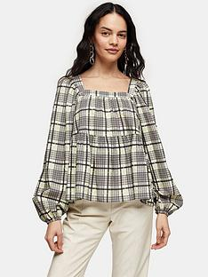 topshop-check-smock-top-green