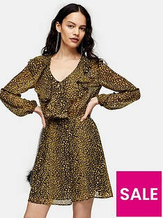 topshop-ruffle-bed-jacket-mini-dress-mustard