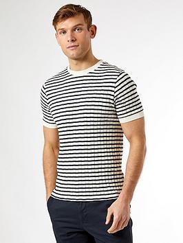 burton-menswear-london-knitted-striped-t-shirt-navyecru