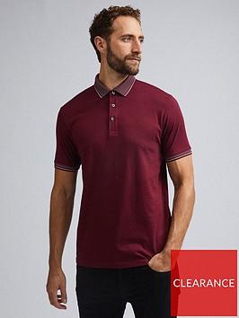 burton-menswear-london-jacquard-collar-polo-shirt-ndash-burgundy