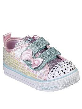 skechers-toddler-girls-shuffle-lites-plimsolls-white