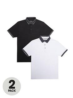 burton-menswear-london-2-pack-jacquard-collar-polo-shirts-ndash-blackwhite