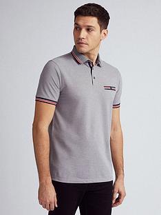 burton-menswear-london-tipped-collar-polo-shirt-grey