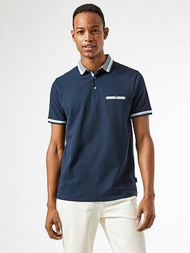 burton-menswear-london-tipped-collar-polo-shirt-navy