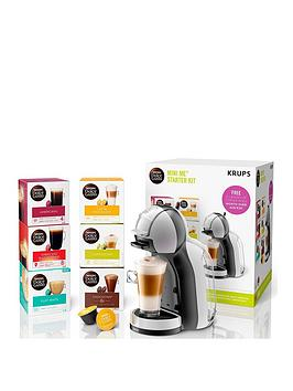 Nescafe Dolce Gusto Mini Me Automatic Coffee Machine Starter Kit By Krups - Arctic Grey And Black Anthracite