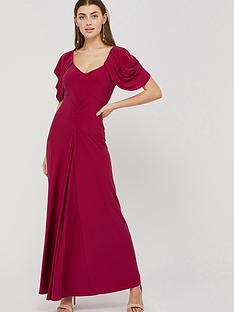 monsoon-cynthia-ruched-sleeve-maxi-dress-pink