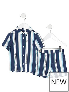 river-island-mini-mini-boys-stripe-shirt-and-shorts-set-blue