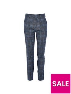 river-island-boys-check-slim-fit-trousers-navy
