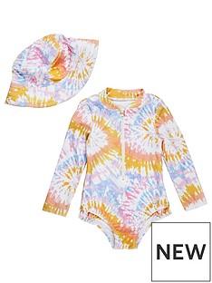 river-island-mini-mini-girls-tie-dye-swimsuit-and-hat-set-multi