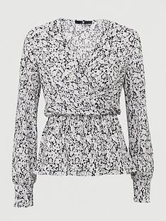 v-by-very-long-sleeve-wrap-plisse-top-black-floral-print