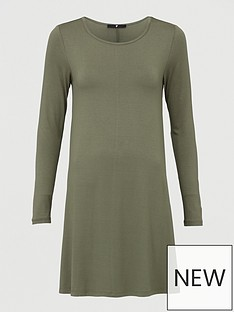 v-by-very-crew-neck-fit-amp-flare-dress-khaki