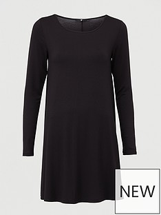 v-by-very-crew-neck-fit-amp-flare-dress-black