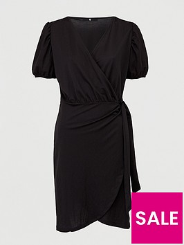 v-by-very-wrap-puff-sleeve-dress-black
