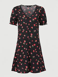 v-by-very-button-front-tea-dress-rose-print