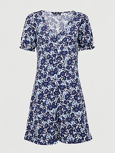 v-by-very-button-front-tea-dress-blue-floral
