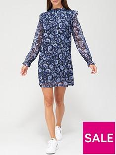 v-by-very-long-sleeve-shirred-ruffle-mini-dress-blue-floral