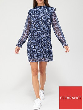 v-by-very-long-sleeve-shirred-ruffle-mini-dress-blue-floral