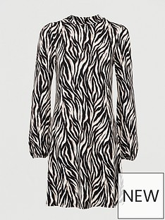 v-by-very-volume-sleeve-mini-dress-tiger-print