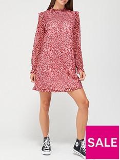 v-by-very-long-sleeve-shirred-ruffle-mini-dress-heart-leopard-print