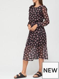 v-by-very-mesh-tiered-midi-dress-black-floral-print