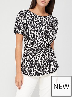 v-by-very-short-sleeve-puff-belted-top-animal