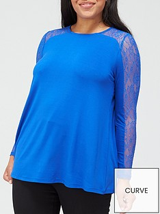 v-by-very-curve-lace-trim-jersey-top-blue
