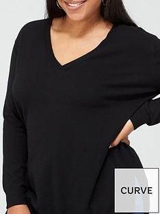 v-by-very-curve-valuenbspv-neck-longline-jumper-black