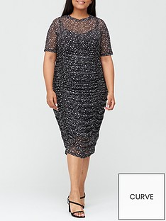 v-by-very-curve-ruched-mesh-pencil-dress-spot-print