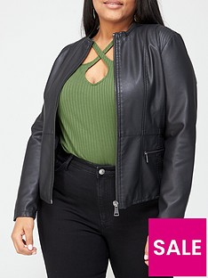 v-by-very-curve-collarless-pu-jacket-black