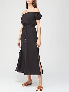 v-by-very-lightweight-textured-bardot-dress-black