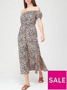 v-by-very-lightweight-textured-bardot-dress-animal-print